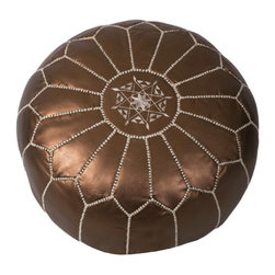 Bronze Leather Pouf - Looking for an alternative to your old ottoman? This authentic handmade Moroccan leather pouf is the perfect replacement. Its ideal height gives it a variety of uses, from a footstool to a spare seat for guests. It comes in a beautiful bronze color, stuffed with cotton batting, and has a zippered bottom for easy care.