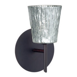 BESA Lighting - BESA Lighting 1SW-5125SF Nico 1 Light Halogen Bathroom Sconce - Nico 4 features a tapered drum shape that fits beautifully in transitional spaces. Our Stone Silver Foil glass is a clear blown glass with an outer texture of coarse sandstone, with distressed metal foil hand applied to the inside. Inspired by the elements of nature, the appearance of the surface resembles the beautiful cut patterning of a rock formation. This blown glass is handcrafted by a skilled artisan, utilizing century old techniques that have been passed down from generation to generation. Each piece of this decor has its own artistic nature that can be individually appreciated. The mini sconce is equipped with a decorative lamp holder mounted to either a low profile round or square canopy.Features: