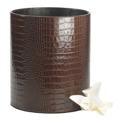 Waste Basket Crocodile Embossed Leather - This beautiful and hand-covered waste basket adds the finishing touch to your home office.