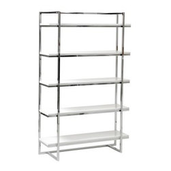 Euro Style Gilbert Bookshelf - White - The Euro Style Gilbert Bookshelf - White is sure to garner some attention with vibrant white shelves that boldly clash with a chromed steel frame in exquisite contemporary style. Five engineered wood (MDF) shelves provide sturdy platforms for books, binders, and more, while the durable lacquered white finish purifies the modern style. The shelves ample wide-open design offer great storage or display. Great for not only your livingroom but try the kitchen too for storage or bakers rack style. Sturdy steel frame ensures lasting quality despite rigorous use. Give your treasures an ultra-modern place of prominence.About Euro StyleEuro Style is more than a brand name. It's a complete design approach for furnishing the living room, dining room, kitchen, and office. Most Euro Style furniture can be assembled in under 15 minutes. Some can be assembled in under five minutes. Assembly instructions and the few tools you might need come inside the carton. Today, there are hundreds of Euro Style products, with new ones arriving every month. You'll discover Euro Style offers the right design at the right price.