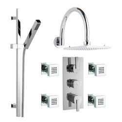Hudson Reed - Arco Thermostatic Shower System With Rainfall Head Curved Arm Handset & 4 Sprays - The Hudson Reed Arco Thermostatic Triple Shower Valve (3 Outlet) features square controls for fingertip control. Constructed from brass and with modern ceramic disc technology, this chrome finish minimalist shower valve supplies water to either the Fixed Shower Head, Hand Shower or 4 Body Jets. Safety comes as standard with a pre-set maximum temperature and an anti-scald device. It is possible to use the shower head simultaneously with a handset or body jets, but this may reduce the flow of water to both functions.