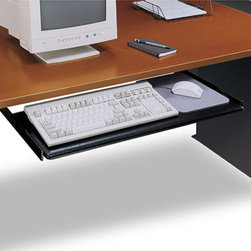 Bush - Sliding Keyboard Shelf - This easy to use sliding keyboard shelf will provide your hands, arms and back with great comfort and health in the long run, as there will be no strain placed directly on them.  When not in use, you can slide the keyboard shelf right under your computer desk so it does not inconvenience anyone. * Mouseball trackable surface. Soft Touch painted surface is slip resistant. Mounts to Advantage and Cameo Series desks. Accomodates keyboard and mouse. Smooth ball bearing slides. 30.236 in. W x 11.496 in. D x 3.976 in. H
