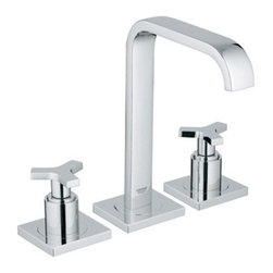 "GROHE - Grohe Allure Lavatory Wideset - Starlight Chrome - When only the best will do, the Grohe Allure lavatory wideset faucet and handles speaks volumes. From the stunning flat-style faucet to the neo-classic cross handles, this is the faucet set you've been waiting for. For years of trouble-free use with looks to match, choose Grohe Allure. Featuring Grohe exclusive StarLight plating and SilkMove technology. Starting with their unique StarLight plating process, Grohe sub-plates layers of copper or nickel, depending on the surface, to ensure a flawless non-porous base for their dazzling chrome layer. StarLight ensures a luminous mirror-like sheen that is resistant to scratches and tarnishing for years of stunning, trouble-free use. Grohes innovative SilkMove cartridges are fashioned from advanced ceramic alloys, then are coated with an exclusive Teflon lubricant, ensuring a lifetime of rich smooth faucet function and quiet, leak-free operation. Features & Specs6 1/4"" Spout Reach9"" Spout HeightGROHE SilkMove Ceramic CartridgeSpoke HandlesFlow Rate 2.2 gpm View Spec Sheet"