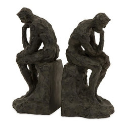 "IMAX CORPORATION - Thinking Man Bookends - Set of 2 - Classic sculpture of ""The Thinking Man"" transformed into sophisticated set of two bookends. Set of 2 in various sizes measuring around 20""L x 11.5""W x 12""H each. Shop home furnishings, decor, and accessories from Posh Urban Furnishings. Beautiful, stylish furniture and decor that will brighten your home instantly. Shop modern, traditional, vintage, and world designs."