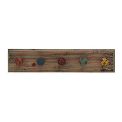 BZBZ93905 - Wooden Vintage Themed Wall Panel with Colorful Hooks - Wooden Vintage Themed Wall Panel with Colorful Hooks. Add a touch of vintage appeal to your modern home with this stylish wall hook panel. This wall panel is made from wood. This wall hook is also an excellent choice for gift. Wrap it up and surprise your near dear ones with your refined taste in home decor and art. So get one now. Some assembly may be required.