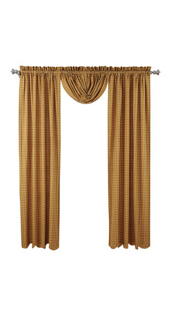 """VHC Brands - Amherst Panel Curtain - Set of 2 100% cotton panels with matching fabric tie backs in a beautiful mustard gold and cream plaid design.  Curtain panels are lined with a white cotton.  Panels measure 84"""" L x 40""""W each. 2"""" header and 3.25"""" rod pocket are included in overall measurements. Machine washable, please follow manufacture's directions. Shown with balloon valance sold separately."""