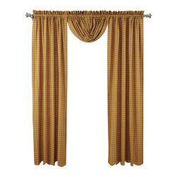 "VHC Brands - Amherst Panel Curtain - Set of 2 100% cotton panels with matching fabric tie backs in a beautiful mustard gold and cream plaid design.  Curtain panels are lined with a white cotton.  Panels measure 84"" L x 40""W each. 2"" header and 3.25"" rod pocket are included in overall measurements. Machine washable, please follow manufacture's directions. Shown with balloon valance sold separately."
