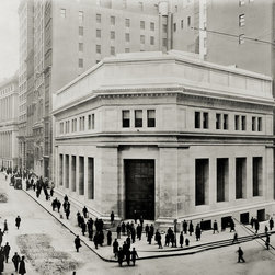 J. P. Morgan and Co. Building, NYC Print - Photograph taken in 1914 by Irving Underhill of 23 Wall Street at Broad in New York City shows the J.P. Morgan and Co. building with many people on the street, some looking directly into the camera.