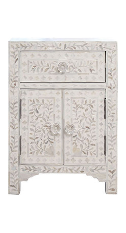 Mother-of-Pearl Small Cabinet/Nightstand, White - I am a sucker for mother-of-pearl on furniture. This is perfect with its simple lines and warm shade of white.