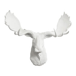 Wall Charmers - Wall Charmers Moose, White | Faux Taxidermy Resin Fake Mounted Animal Head Art - WALL CHARMERS FAUX TAXIDERMY MOOSE HEAD