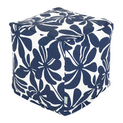 Majestic Home - Outdoor Navy Blue Plantation Small Cube - These blossoms don't just look bold — with UV protection built into the fabric, you've got a versatile indoor/outdoor piece that can stand up to any weather. Plus, the slipcover zips off so you can throw it in the wash.
