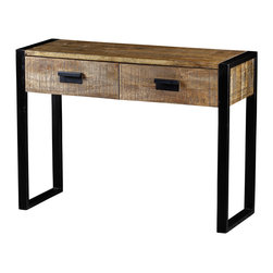 Artemano - Delia 2 Drawer Console Table Made of Mango Wood - Industrial black metal legs bracket the beautifully grained exotic mango wood of the Delia 2 Drawer Console Table. This console table features two front drawers, with matching rectangular pulls, which also provide lots of storage space. Perfect for the downtown loft or the country cottage getaway! Made of sustainable mango wood from old mango trees that have stopped bearing bountiful harvests.