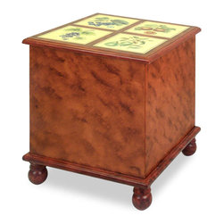 China Furniture and Arts - Trunk with Fruit Motif - Serves as a unconventional side table, which also provides useful storage for small items. Hand painted fruit motif embellish the trunk top.