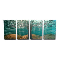 Miles Shay - Metal Wall Art Decor Abstract Contemporary Modern- Tree of Life Aqua Gold - This Abstract Metal Wall Art & Sculpture captures the interplay of the highlights and shadows and creates a new three dimensional sense of movement as your view it from different angles.