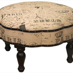Manual - Vintage Look Paris Themed 30 Inch Diameter Ottoman Foot Stool - This beautiful vintage look ottoman features wooden legs, studded trim accents and its padded polyester cushion features a Paris newsprint theme. Measuring 30 inches in diameter, 18 inches tall, it`s gorgeous to look at, and is very comfortable for putting your feet up after a long day. This ottoman is brand new, never displayed, and requires a small amount of assembly.