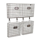 "Imax - Industrial Retro Wire Basket Wall Organizer - *Dimensions: 23.5""h x 4.75""w x 22.25"""