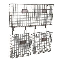 "Imax - Industrial Retro Wire Basket Wall Organizer - *Dimensions: 23.5""h x 4.75""w x 22.25"""