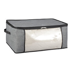 None - Kennedy Home Collection Grey Blanket Bag - The Kennedy Home Collection Blanket Bag stores and protects your blanket,bedding and other linens in smart,convenient fashion. This functional storage piece features sturdy handles,and a collapsible design.