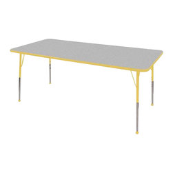 """Ecr4kids - Ecr4Kids Adjustable Activity Table Rectangular 36"""" X 72"""" Elr-14113-Gye-Tb Yellow - Table tops feature stain-resistant and easy to clean laminate on both sides. Adjustable legs available in 3 different size ranges: Standard (19""""-30""""), Toddler (15""""-23""""), Chunky (15""""-24""""). Specify edge banding and leg color. Specify leg type."""