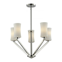 Five Light Chrome Matte Opal Glass Drum Shade Chandelier - This five light chandelier uses exquisitely designed, angled chrome arms to hold uniquely shaped, warm glowing matte opal shades. An exceptionally contemporary fixture, this fixture includes adjustable rods to ensure the perfect hanging height.