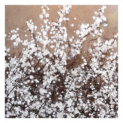 "White Spring Blossom on Brown, Original, Painting - ""The first warm days of spring bring out the blossom in the trees, a special time of year marking the end of darker winter days. Here set against a brown background white blossom promises warm sunny days ahead. Painted in abstract style a work of art that will bring some spring colour and light into your living space with real style."""