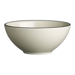 Kita Bowl - Pure and simple. Clean Asian shapes have a thin, elegant feel and sophisticated color palette of subtle celadon and matte black. Porcelain is fired at a very high temperature, with the cooling process creating the beautiful crackling of the glossy glaze. This traditional artistic effect is food safe, though it may discolor when exposed to foods that can potentially stain until it is cleaned in an automatic dishwasher.