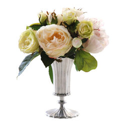 Jane Seymour Botanicals - Rose & Peony Vase, Green/White - Pale roses and peonies make a perfect pairing to enhance the elegance in your decor. And shh! No one will know this stunning bouquet will stay forever fresh, never losing a single petal.