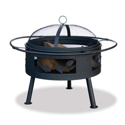 """Uniflame - Outdoor Fire Pit with Leaf Design - Uniflame's collection of outdoor fireplace accessories will astound you with its simple beauty. Dazzle your friends and family with the beautiful glow from this ornate firebowl. Features: -Aged bronze with leaf design provides more head and more atmosphere.-Easy tending and cleaning.-Easy lift spark guard.-Distressed: No.Dimensions: -Overall Height - Top to Bottom: 21.5"""".-Overall Width - Side to Side: 30"""".-Overall Depth - Front to Back: 30"""".-Spark Screen: Yes.-Overall Product Weight: 17.6 lbs.Assembly: -Simple assembly.Warranty: -1 Year limited warranty."""