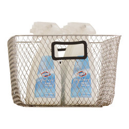 Design Ideas - Net Mesh Storage Basket - Black Handle, Small - Meet the Net. Cool wire storage baskets, accented with black silicone handles. Store towels, cleaning supplies, hangers, balls, water bottles or odds and ends in the garage.