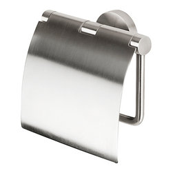 Geesa - Satin Stainless Steel Toilet Roll Holder with Cover - Toilet roll holder with cover. Satin stainless steel finish. Toilet tissue holder from the Geesa Nemox Stainless Steel Collection collection. Made in stainless steel and finished with brushed nickel. Decorator modern & contemporary toilet tissue holder for your decorator bath. Manufactured in and imported from Netherlands.
