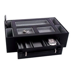 Leather Valet Box with Pen & Watch Drawer - Black Leather - 11W x 3H in. - Just in case you can't swing a personal valet for this year's Father's Day gift, the Leather Valet Box with Pen & Watch Drawer - Black Leather has got you covered. Timeless, simple, and strong, this traditional valet box gives you maximum storage and style. The black leather exterior is rich and versatile - an ideal container for all your chic accessories. Peek inside and you'll find a plush pigskin lining. One drawer gives you abundant space for two watches and three pens. The open top is cleverly designed with seven divided storage slots. All in all, this is one valet box that rivals its human counterpart for style, storage space, and overall sophistication. About Bey-Berk InternationalThis quality item is created by Bey-Berk. For more than 20 years, Bey-Berk International has crafted and hand-selected unique gifts and accessories from around the world to meet the demands of discerning customers. With its line of elegant and distinctive products, Bey-Berk has established itself as a leader in luxury accessories.