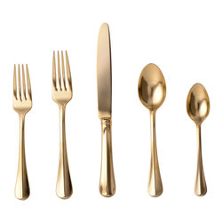 Bistro Gold 5-Piece Silverware Setting - Lay a feast on the table in finery with the Bistro Gold Five-Piece Silverware Setting, a collection of elegant flatware plated in twenty-four-carat gold for effortless luxury. Whether you use them for a top-of-the-line luncheon or for a romantic night in, these sleek gold-plated utensils make your table regally rich with a minimum of extraneous adornment.