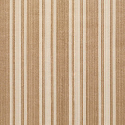 Beige Two Toned Stripe Metallic Sheen Upholstery Fabric By The Yard - This multipurpose fabric is great for residential upholstery, bedding and drapery. This material is woven for enhanced elegance. The sheen of this material varies depending on the light for a unique appearance.