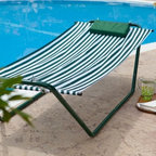 Algoma 4-Point Hammock Lounger - Additional features: Includes outdoor plated hardware Hanging hardware is included Bed length: 6 ft. 3 in. Bed width: 2 ft. 6 in. Overall dimensions: 82L x 30W x 22H inches Super comfortable and easy to move from point A to point B the Algoma 4-Point Hammock Lounger is the perfect hammock for virtually anywhere you want to relax. Though it doesn't fold it's very lightweight at just 19 lbs. Enjoy it by the pool in the backyard on the deck or porch even in your living room! It offers full size comfort for one without taking up a large amount of space. The 4-point no swing design makes it easy to get in and out. The hammock is made of heavy duty weather resistant polyester fabric in classic green and white stripes. It's supported by a tubular steel stand in powder-coated green and features outdoor-plated hardware. Hanging hardware is included.