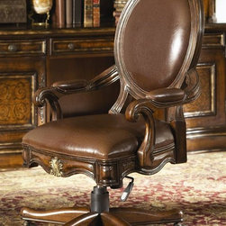 Hooker Furniture - Beladora Swivel Desk Chair - Tilt swivel. Pneumatic gas lift. Brass casters. Ergonomic mechanism. Made from hardwood solids with maple, olive ash burl and walnut veneers with resin accents. Caramel finish with gold tipping. Arm height (high setting): 27.25 in.. Arm height (low setting): 24.25 in.. Seat height (high setting): 21.50 in.. Seat height (low setting): 18.50 in.. Seat cushion thickness: 3 in.. Overall: 27.50 in. W x 25 in. D x 45.25 in. H. Assembly InstructionsThe 70-piece Beladora collection of bedroom, dining, living room tables, home office and home entertainment furniture is the epitome of the grand European elegance many are looking for. Enrich you surroundings with the grand European elegance of Beladora. If you appreciate traditional forms, exquisite shapes, graceful curves and artistic hand work, the Beladora office collection by Hooker Furniture will inspire you as you work in your personal office space. The collection is dramatic and graciously scaled with maple and olive ash burl veneers accented by distinctive walnut inlays. Beladora pays homage to costly Old World antiques and showcases its exceptional design with a refined caramel finish with subtle gold tipping to accent the carving, chiseling and marquetry work all done by the hands of skilled craftsmen.