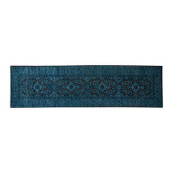 1800-Get-A-Rug - Hand Knotted Teal Overdyed Super Kazak Runner Oriental Rug Sh15141 - Our Tribal & Geometric Collection consists of classic rugs woven with geometric patterns based on traditional tribal motifs. You will find Kazak rugs and flat-woven Kilims with centuries-old classic Turkish, Persian, Caucasian and Armenian patterns. The collection also includes the antique, finely-woven Serapi Heriz, the Mamluk Afghan, and the traditional village Persian rug.