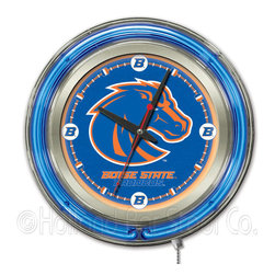 Holland Bar Stool - Holland Bar Stool Clk15BoiseS Boise State Neon Clock - Clk15BoiseS Boise State Neon Clock belongs to College Collection by Holland Bar Stool Our neon-accented Logo Clocks are the perfect way to show your school pride. Chrome casing and a team specific neon ring accent a custom printed clock face, lit up by an brilliant white, inner neon ring. Neon ring is easily turned on and off with a pull chain on the bottom of the clock, saving you the hassle of plugging it in and unplugging it. Accurate quartz movement is powered by a single, AA battery (not included). Whether purchasing as a gift for a recent grad, sports superfan, or for yourself, you can take satisfaction knowing you're buying a clock that is proudly made by the Holland Bar Stool Company, Holland, MI. Clock (1)