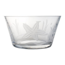 Rolf Glass - Starfish Clear Small Bowl 6 Set of 4 - Fill them with cherries or grapes, peanuts or pretzels, these clear glass bowls will make whatever you're serving look absolutely appealing. A engraved starfish floating in sea grass adds beach-house appeal.