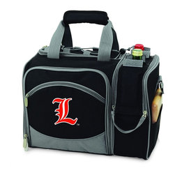 Picnic Time - University of Louisville Malibu Picnic Pack in Black - Insulated pack with picnic service for 2 made of 600D polyester canvas. The elegant and unique Malibu shoulder pack is perfect for picnics, concerts, or travel. This tote has an integrated wine storage section and a spacious food storage section with removable liner. The adjustable shoulder strap makes it easy to carry. A wonderful gift idea.; College Name: University of Louisville; Mascot: Cardinals; Decoration: Embroidered; Includes: 2 Wine glasses (acrylic), 2 Napkins (cotton 14 x 14 in.), 1 Corkscrew (waiter style stainless steel), 1 Cutting board (wood 6 x 6 in.), 1 Cheese knife (stainless steel w/wood handle), 2 Plates (melamine 9 in.), 2 Ea. Knives forks & spoons (stainless steel), 2 Napkins (cotton 14 x 14 in.)