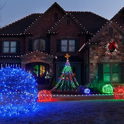 LED Light Balls - Unique Outdoor Holiday Decor - Decorate the outdoor space of your home with LED light balls. Ideal for Christmas, the holidays, weddings and more, LED light balls are made out of LED mini lights and chicken wire. LED mini lights come in an array of colors including red, green, blue, amber orange, gold, warm white, cool white, pink, and multi-color. For directions and ideas on making the LED light balls, visit: blog.christmaslightsetc.com/diy/how-to-make-christmas-light-balls/