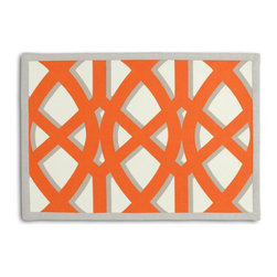 "Orange Trellis Tailored Placemat Set - Class up your table's act with a set of Tailored Placemats finished with a contemporary contrast border. So pretty you'll want to leave them out well beyond dinner time! We love it in this oversized outdoor modern trellis in orange & gray. phew?""_""""_""""__no pruning needed!"