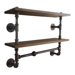 Industrial Home Bazaar - Industrial Pipe Double Shelf - With its industrially inspired design, this durable shelf keeps any room clutter-free by allowing you to store any overflow with ease. A classic way to display books, photos and knickknacks. Crafted out of pine wood and rugged black steel pipes it's both handsome and functional. The black steel pipes are brushed down to bare metal and sealed with a clear coat lacquer while the pine wood shelf is distressed by hand to give it a time worn appearance. It has visible marks and indentations. Sealed with a finishing wax to protect the wood without concealing its character. Items are handmade upon ordering, so the piece you purchase may have slight variations from the photographed item. This makes yours one-of-a kind.