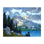 'Evening, Lake Ediza' Framed Oil Painting - Weekend getaway. This original landscape painting by Armand Cabrera is done in plein air style. Rendered in a soothing palette of blues and greens, it has the power to calm your senses.