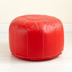 Faux Leather Seats Come Standard, Red Pouf - Poufs are fantastic not only for bringing additional seating into a room, but also for bringing in an accent color.