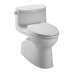 Toto - Toto MS644114CEFG#11 Carolina II 1-Piece High-Efficiency Toilet, 1.28 GPF - Toto MS644114CEFG#11 white Carolina II One-Piece High-Efficiency Toilet. Toto is the world's largest plumbing products manufacturer, they have been designing and innovating plumbing fixtures, accessories, showers, and for over 90 years. Each collection and product that Toto makes is unique in appearance and performance. This Toto MS644114CEFG#11 white Carolina II One-Piece High-Efficiency Toilet features Toto's patented glazing process (SanaGloss). This Finish is engineered to minimize any particles from sticking to the porous surface of the ceramic toilet bowl. This Toilet also includes an elongated toilet bowl, powerful Double cyclone flushing system, and a Universal height and rough-in. This Toilet comes in colonial white.