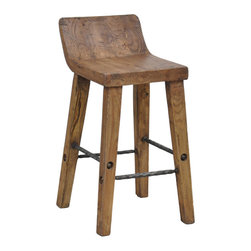 Tam 24-inch Low Back Counter Stool - I love this bar stool because it's made from reclaimed wood and has such a great natural look. I would use it in an all-white kitchen.