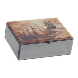 Mele Jewelry - Mele and Co. Leonardo Mirrored Glass Jewelry Box with Nautical Design - Mele Jewelry - Jewelry Boxes - 00168F13
