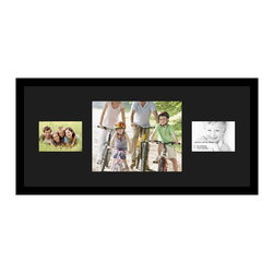 ArtToFrames - ArtToFrames Collage Photo Frame  with 1 - 11x14 and 2 - 5x7 Openings - This sleek Satin Black, 1.25 inch wide collage frame, presents a setup for 1 - 11x14 and 2 - 5x7 snapshots of your choice. This collage is part of an extensive collage frame collection and boasts a broad line of carefully constructed frames at a affordable price tag you can gloat about! Handcrafted and created to outfit your snapshots making sure you 1 - 11x14 and 2 - 5x7 art will fit perfectly. Bordered in a bold Satin Black, sleek frame and joined by a clean Black mat, the collage arrangement certainly showcases your original prized artwork, and wonderful memories in an entirely special and new way. This collage frame comes protected in Styrene, equipped with appropriate hardware and can be hung up in the blink of an eye. These premium quality and rustic wood-based collage frames vary in tone and dimension; all in contemporary and modern design. Mats are available in a bevy of color tones, openings, and shapes. It's time to tell your story! Preserving your memories in an original and brilliant new way has never been easier.