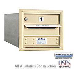 Salsbury Industries - 4C Horizontal Mailbox - 3 Door High Unit - Single Column - 1 MB1 Door - Sandston - 4C Horizontal Mailbox - 3 Door High Unit (13 Inches) - Single Column - 1 MB1 Door - Sandstone - Rear Loading - USPS Access