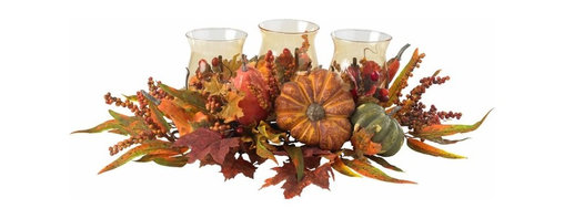 """Harvest Triple Candelabrum Centerpiece - Triple the candles, triple the beauty """" that's our motto (well, for this gorgeous piece, at least.) But really, just take a look at it """" three beautiful candleholders lovingly nestled into a bevy of Autumn fruits, berries, and foliage. it's the perfect accessory for any holiday decor, from a dinner table to a bookshelf to a warm hearth. Also makes a thoughtful gift that will be welcomed in any home. Height= 9.5 in x Width= 30 in x Depth= 19 in"""